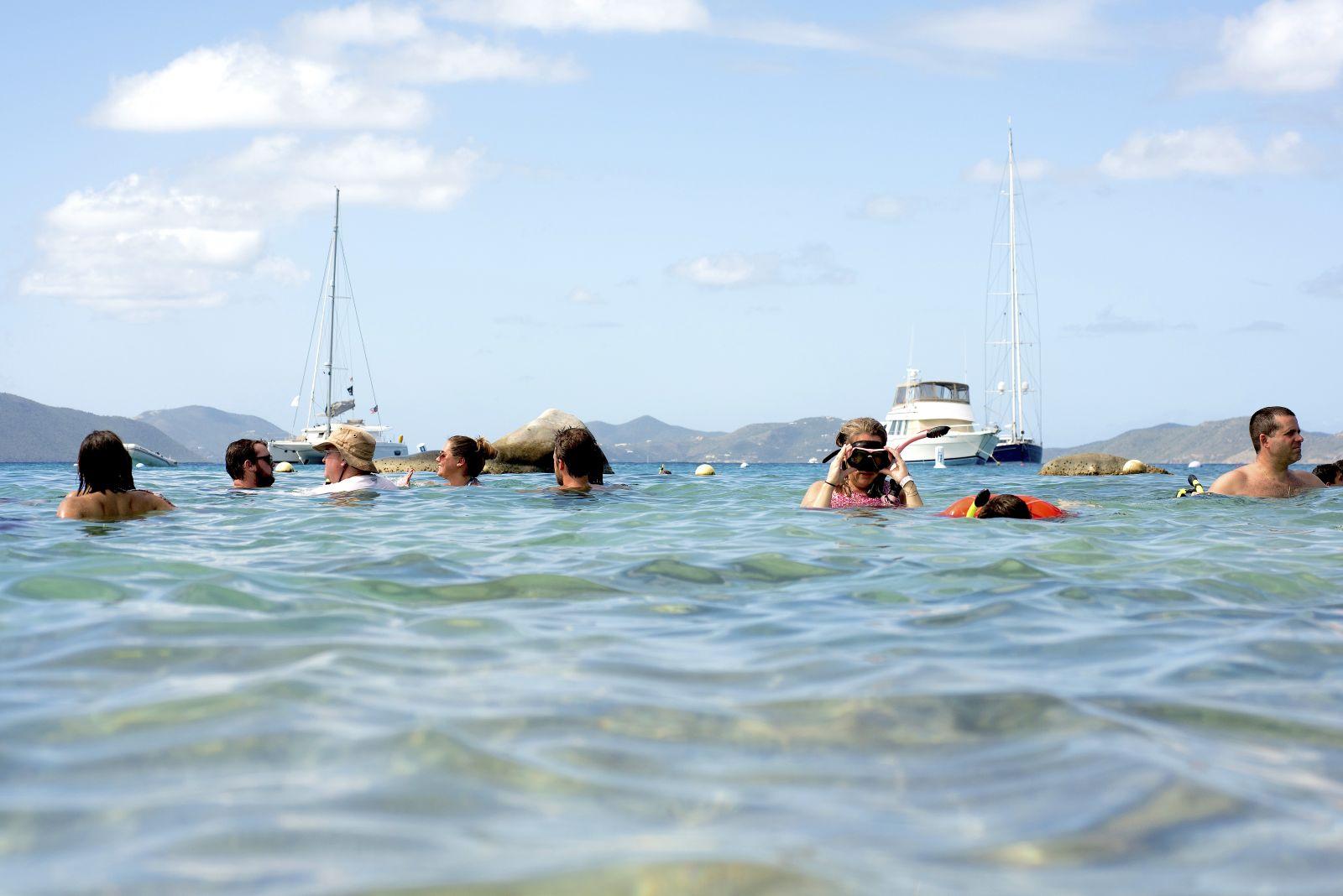 snorkelers in BVI